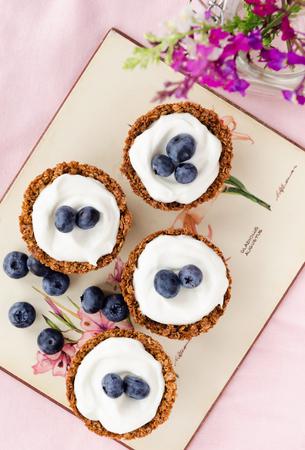 postres: Tartas del arándano con conchas muesli y el relleno a base de yogur, una alternativa de tratamiento postre saludable Foto de archivo