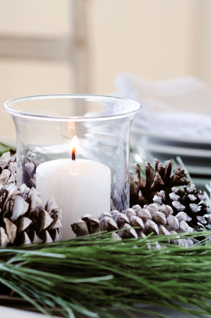 table decoration: Christmas table decoration with pine cones, pine needles and crockery place setting