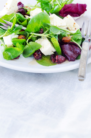 lunch meal: Healthy mix green salad with cranberry, almonds and feta for a gourmet light meal lunch dinner appetiser