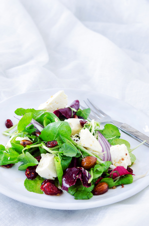 lunch meal: Spinach watercress green mix salad with cranberry, almonds and feta for a gourmet light meal lunch dinner appetiser
