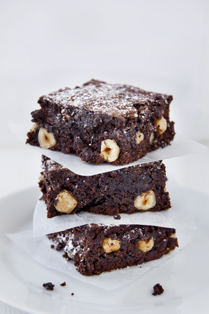 decadent: Decadent pieces of cocoa chocolate brownies dessert treat