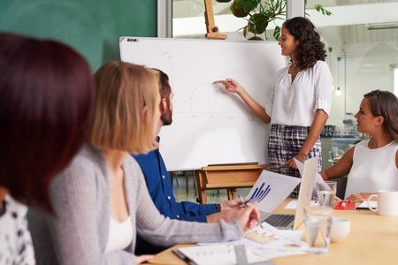 Verkoop presentatie teamvergadering in business directiekamer Stockfoto