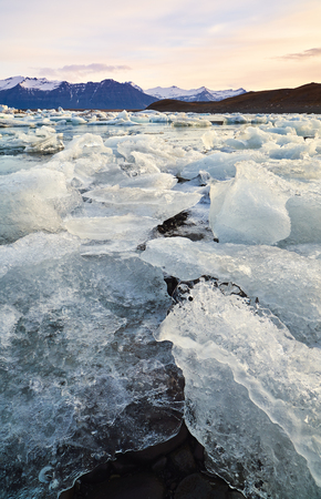 Broken melting pieces of ice at Jokulsarlon glacier Lagoon, climate change melting the polar ice caps and glaciers at an alarming rate