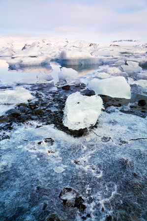 alarming: Broken melting pieces of ice at Jokulsarlon glacier Lagoon, climate change melting the polar ice caps and glaciers at an alarming rate