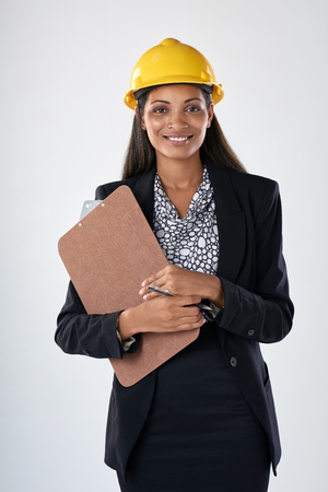 asian architect: Mixed race woman in suit hardhat and clipboard, engineer consultant construction surveyor careers