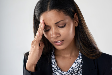 depressed: Young business woman tired stressful suffering from bad headache and fatigue