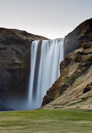 scenary: Long exposure of skogafoss waterfall in south iceland, beautiful scenary landscape photography