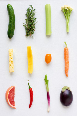 Arrangement of fresh fruit and vegetables