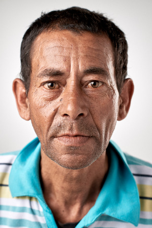 Portrait of real white caucasian man with no expression ID or passport photo full collection of diverse face and expressions Standard-Bild
