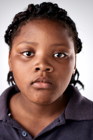 expressionless: Young black african girl portrait collection