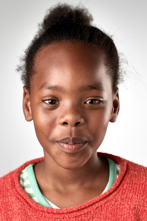 portrait of real african black girl face in studio Stock Photo