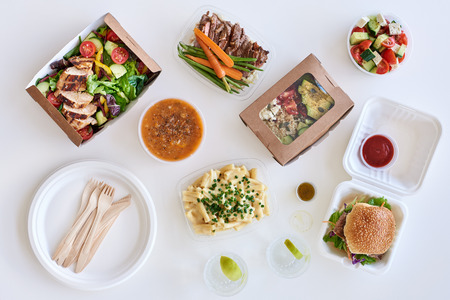 Different options variety assortment of takeout food gourmet takeaways Standard-Bild