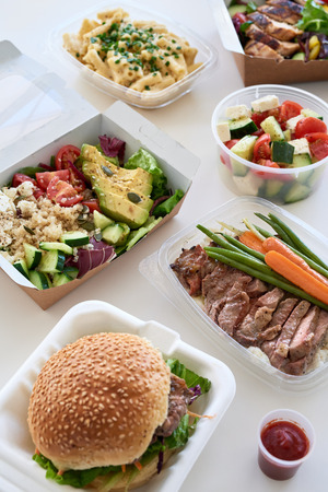 Options variety assortment of takeout food gourmet takeaways delivery Stock Photo