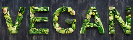 Flat lay series of food words in green produce fruit and vegetables design element poster spelling layout Stock fotó - 80248047