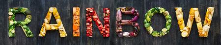 멀티 컬러 컬러 과일 야채 유기농 생산 알파벳 스톡 콘텐츠