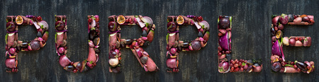 overhead layout design of alphabet letters made from fresh produce vegetables