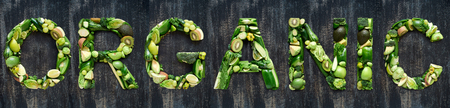Collection of green vegetables produce shaped into letters of the alphabet, complete set part of series
