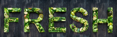 complete collection of alphabet letters made from healthy green fruit and vegetables, selection of food words on rustic distressed texture, overhead flat lay Stock fotó - 80176107