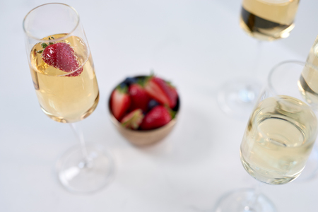 Champagne crystal glasses, new years eve celebration festive holiday mood