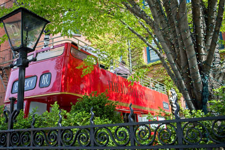 New York, NY, USA - May 5, 2021: A London bus used for dining on the grounds of the High Line Hotel in Chelsea