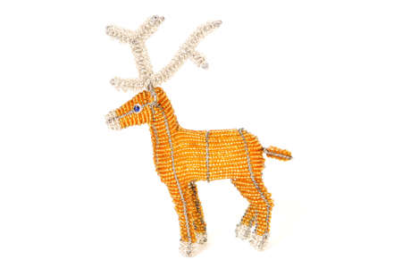 caribou: Christmas reindeer in African and wire bead work Stock Photo