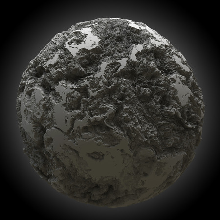 displacement: 3d rendering spherical abstract object with strong displacement on black backgeound. High Quality 3D Render. Stock Photo