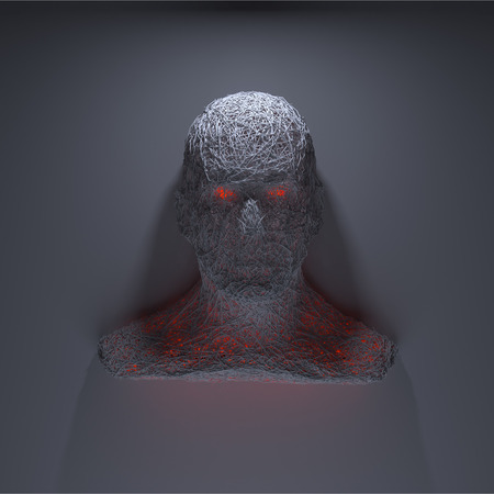 3d scary: 3d rendering evil head on black background with demonic eyes. Scary head glaring at you. Isolated on a black background. Portrait of blood thirsty head man with glowing eye. Closeup.