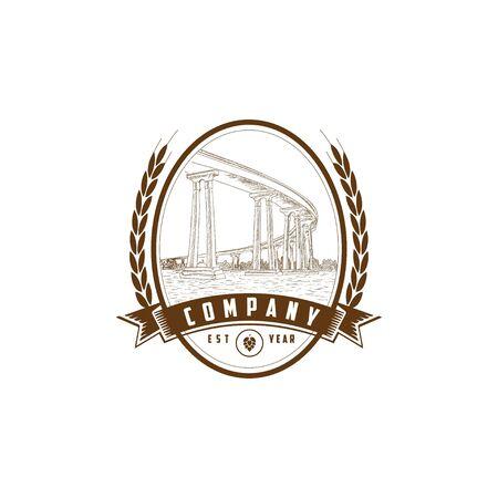 Vintage bridge logo on white 向量圖像