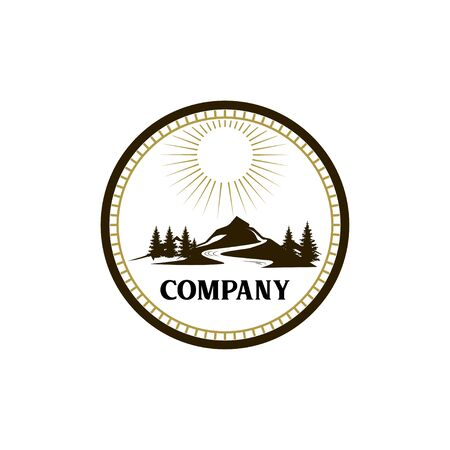 Mountain landscape logo on white Ilustracja