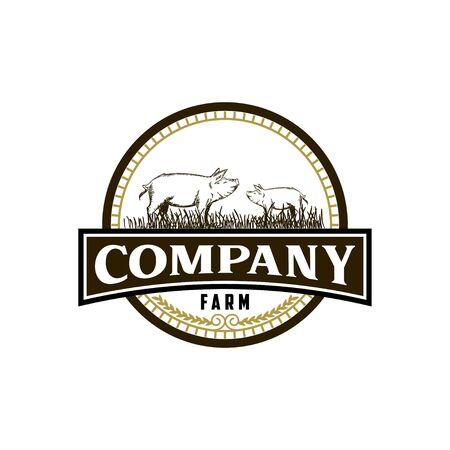 Vintage pig farm logo design