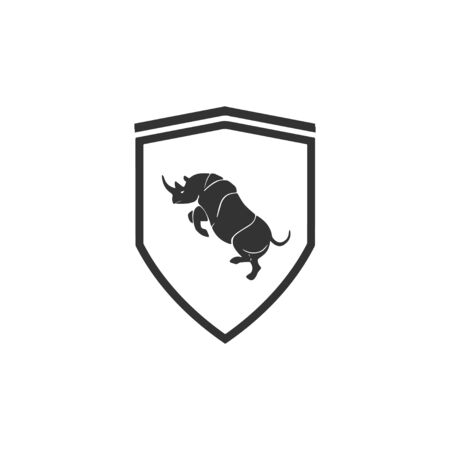Rhinoceros shield logo design