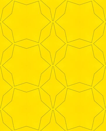Abstract black lines on yellow background geometric seamless pattern.