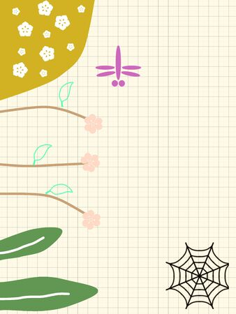 Colorful florals green leaf and pink dragonfly. cute background illustrations drawings.