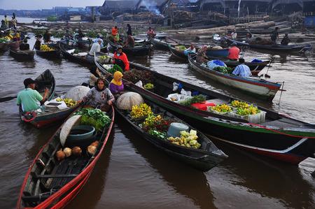 floating market in South Kalimantan, Indonesia