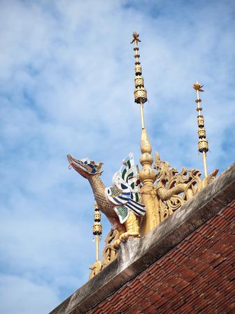 apex: Gable apex Nagas of thai temple    Stock Photo
