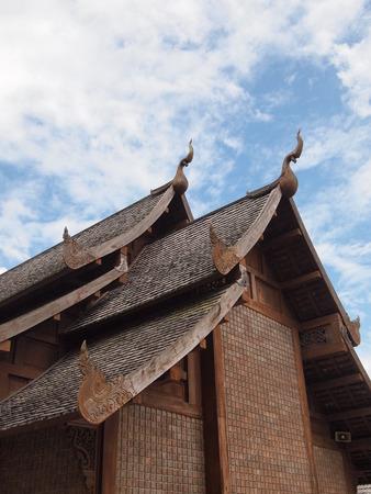 house gable: Double gable roof of Thai house Stock Photo
