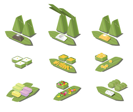 steam of a leaf: Thailand dessert vector Illustration