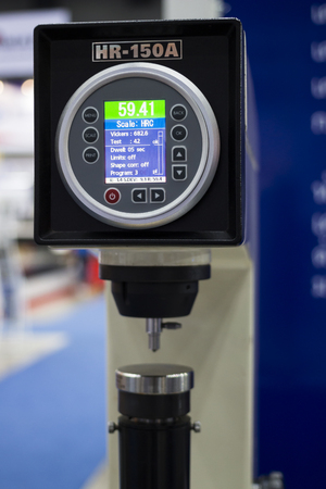 Control panel and LCD monitor of Automatic Hardness Tester. Selective focus