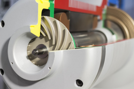 Close up impeller in side Indsustrial air blower, cross section view,high technology equipment