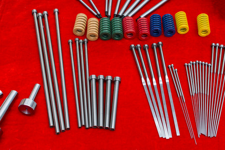 Ejector pins and spring for injection mold ; tooling Stock Photo