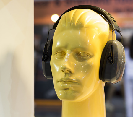 mannequins with ear muff ;Personal Protection Equipment PPE Stock Photo