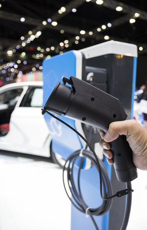 Electric Vehecle ( EV ) charger ; selective focus  Stock Photo