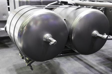Air tanks for brake system of truck Banco de Imagens