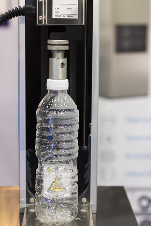 Drinking bottle tested compressive strength ; close up