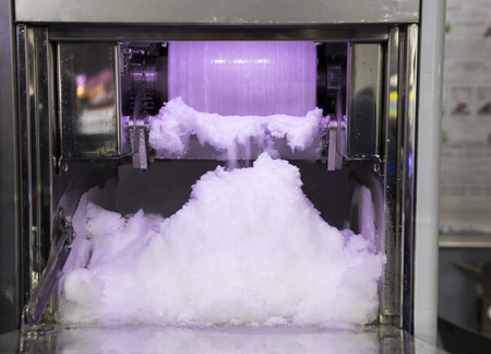 High quality Bingsu ice making machine ; close up ; food industry ; Cafe