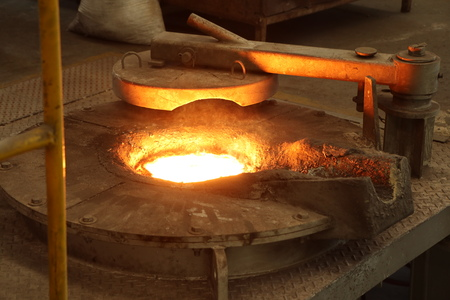 Molten metal in Induction Furnace for casting Iron manufacturing
