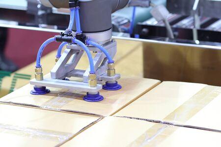 The robot arm transfers carton box  to conveyor line ; close up Reklamní fotografie