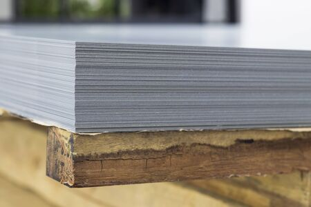 Stack of steel sheets ; ready to use ; stock ; for laser cutting Reklamní fotografie
