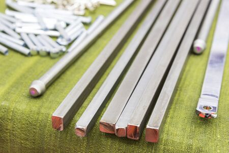 square steel rod for manufacturing parts ; close up