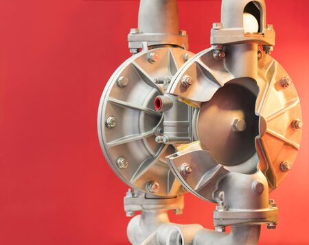 Cross section of diaphragm pump  ; close up
